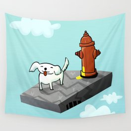 Dog in the sky peeing - Illustration Wall Tapestry