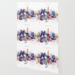 Colorful San Paulo skyline design Wallpaper