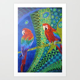 Two Scarlet Macaws Art Print