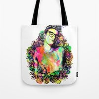 the smiths Tote Bags featuring I blame everything on The Smiths by Ben Hawke