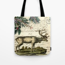western country primitive christmas mountain animal wildlife winter pine tree elk Tote Bag