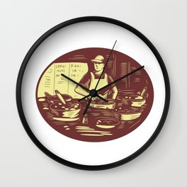 Taco Cook in Food Stall Oval Retro Wall Clock