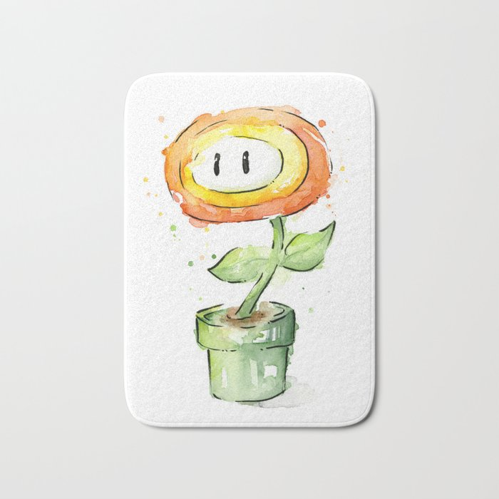 Fireflower Mario Watercolor Bath Mat