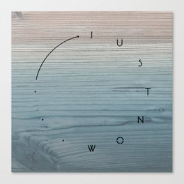 'Just now…' in weathered blue stain Canvas Print