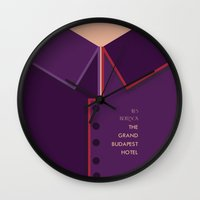 the grand budapest hotel Wall Clocks featuring Wes Anderson's Grand Budapest Hotel - Minimal Movie Poster by Stefanoreves