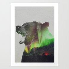 Bear In The Aurora Borealis Art Print