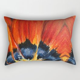 Orange Flower Painting Rectangular Pillow