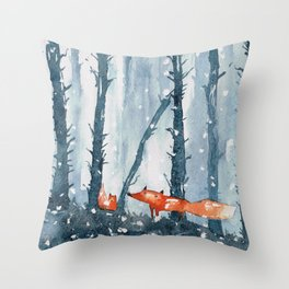 Foxes in forest Throw Pillow