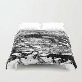 Dexa - black and white minimal abstract painting brushstrokes artwork modern home decor piece Duvet Cover