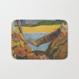 Vincent van Gogh painting sunflowers by Paul Gauguin Bath Mat