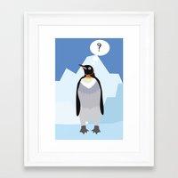 penguin Framed Art Prints featuring Penguin by Nir P