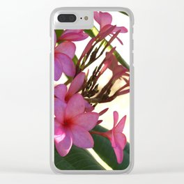 Pink Plumeria Clear iPhone Case