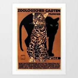 Vintage Munich Zoo Leopard 1912 Advertisement Art Print