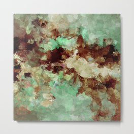 Brown Abstract Acrylic Painting Metal Print