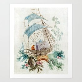 Chinoiserie Embroidery Art Print