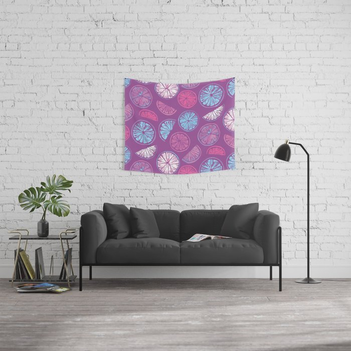 Citrus Wheels - Plum and Berry Wall Tapestry