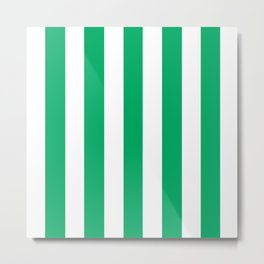 GO green - solid color - white vertical lines pattern Metal Print