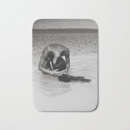 Nothing but tan lines, ocean, & beach female form black and white photography Bath Mat