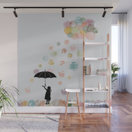 Colorful snow in Winter Wall Mural