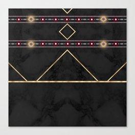 Golden Sun Mandala Ruby Flowr over BlackMarble Canvas Print
