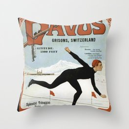 Swiss Winter Skating Sports Throw Pillow