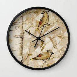 Cedar Waxwings in Birch Tree Wall Clock