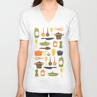 kitchen V-neck T-shirts featuring Kitchen by Bellwheel
