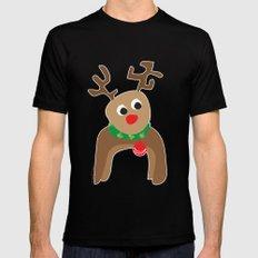 Santa's Reindeer SMALL Black Mens Fitted Tee