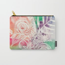 Pastel Rainbow Multicolor White Floral Watercolor Carry-All Pouch