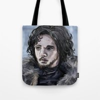jon snow Tote Bags featuring Jon Snow by amberandtigers