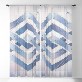 Indigo Hexagon :: Floating Geometry Sheer Curtain
