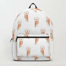 Cute hand painted white orange ivory watercolor owls Backpack