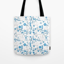 Blue White Geometric Shapes Tote Bag