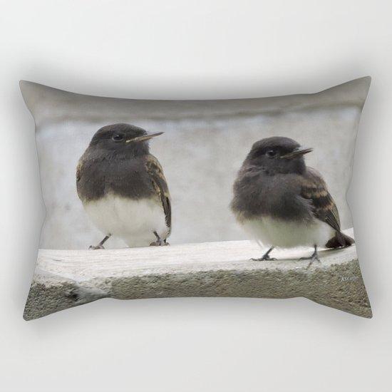 Young Black Phoebes Rectangular Pillow