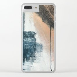 Honey 1: a pretty, minimal abstract in midnight blue, rose gold, and white Clear iPhone Case