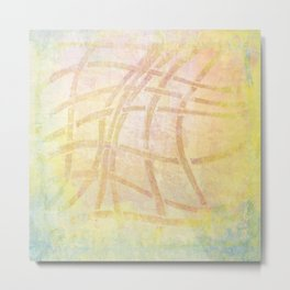 Abstract Pink Yellow and Blue Texture Design Metal Print