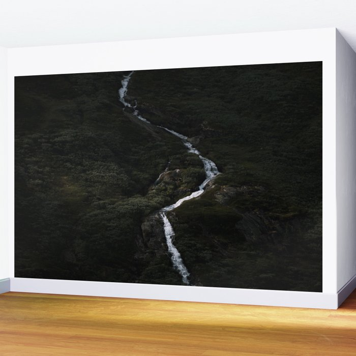 Dark forest with waterfall on the side of a mountain in Norway - Landscape Photography Wall Mural