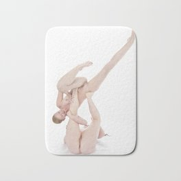 2545-PDJ+NIS  Two Naked Girls Playing Airplane High Key Fine Art Nude Bath Mat