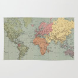 Vintage Map of The World (1889) Rug