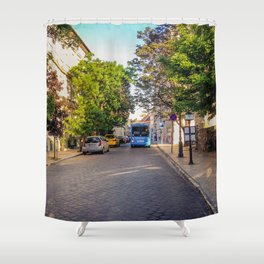 BUS IN BUDAPEST Shower Curtain