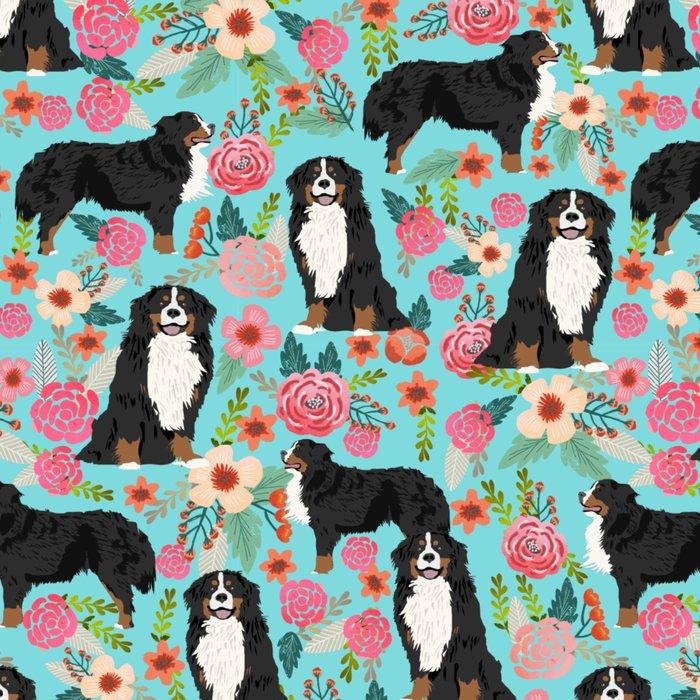 Bernese Mountain Dog pet portrait dog art illustration fur baby dog breed floral gift for dog lover Leggings