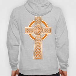 St Patrick's Day Celtic Cross Orange and White Hoody