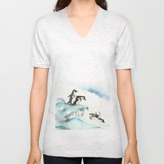 Jumping Penguins - Watercolor Unisex V-Neck