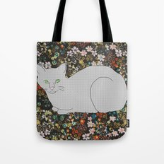 Gray Cat on Floral  Tote Bag