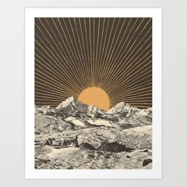 Mountainscape 6 - Night Sun Art Print