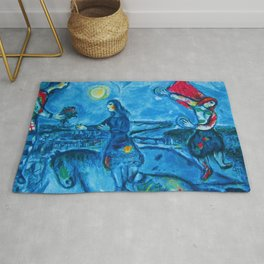 Lovers Over Paris, France landscape painting by Marc Chagall Rug