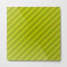 Green Diagonal Stripes Metal Print
