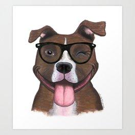 Hipster Pit Bull Art Print