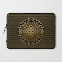 Gold Endless Knot  in Mandala Decorative Shape Laptop Sleeve