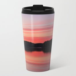 Serene view of calm lake and tree silhouettes at twilight Travel Mug